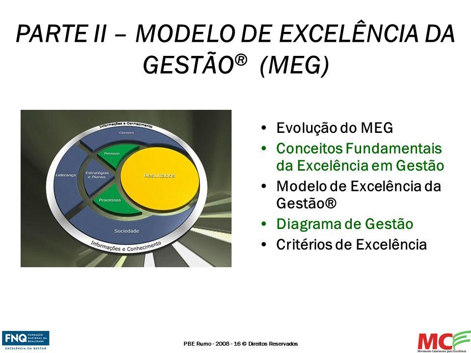 PBE Rumo - 2008 - 16 © Direitos Reservados PARTE II – MODELO DE EXCELÊNCIA DA GESTÃO ® (MEG) Evolução do MEG Conceitos Fundamentais da Excelência em G