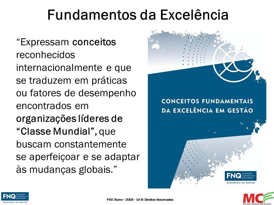 PBE Rumo - 2008 - 18 © Direitos Reservados Fundamentos da Excelência Expressam conceitos reconhecidos internacionalmente e que se traduzem em práticas