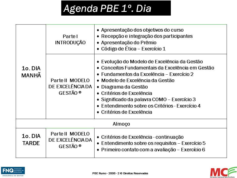 PBE Rumo - 2008 - 2 © Direitos Reservados Agenda PBE 1º. Dia 1o. DIA MANHÃ Parte I INTRODUÇÃO Apresentação dos objetivos do curso Recepção e integraçã