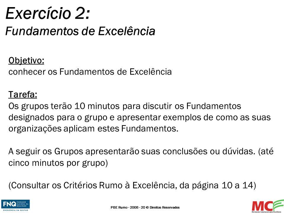 PBE Rumo - 2008 - 20 © Direitos Reservados Objetivo: conhecer os Fundamentos de Excelência Tarefa: Os grupos terão 10 minutos para discutir os Fundame