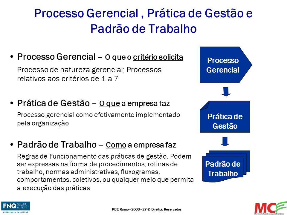 PBE Rumo - 2008 - 27 © Direitos Reservados Processo Gerencial, Prática de Gestão e Padrão de Trabalho Processo Gerencial – O que o critério solicita P