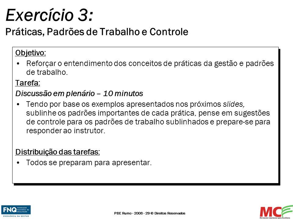 PBE Rumo - 2008 - 29 © Direitos Reservados Exercício 3: Práticas, Padrões de Trabalho e Controle Objetivo: Reforçar o entendimento dos conceitos de pr