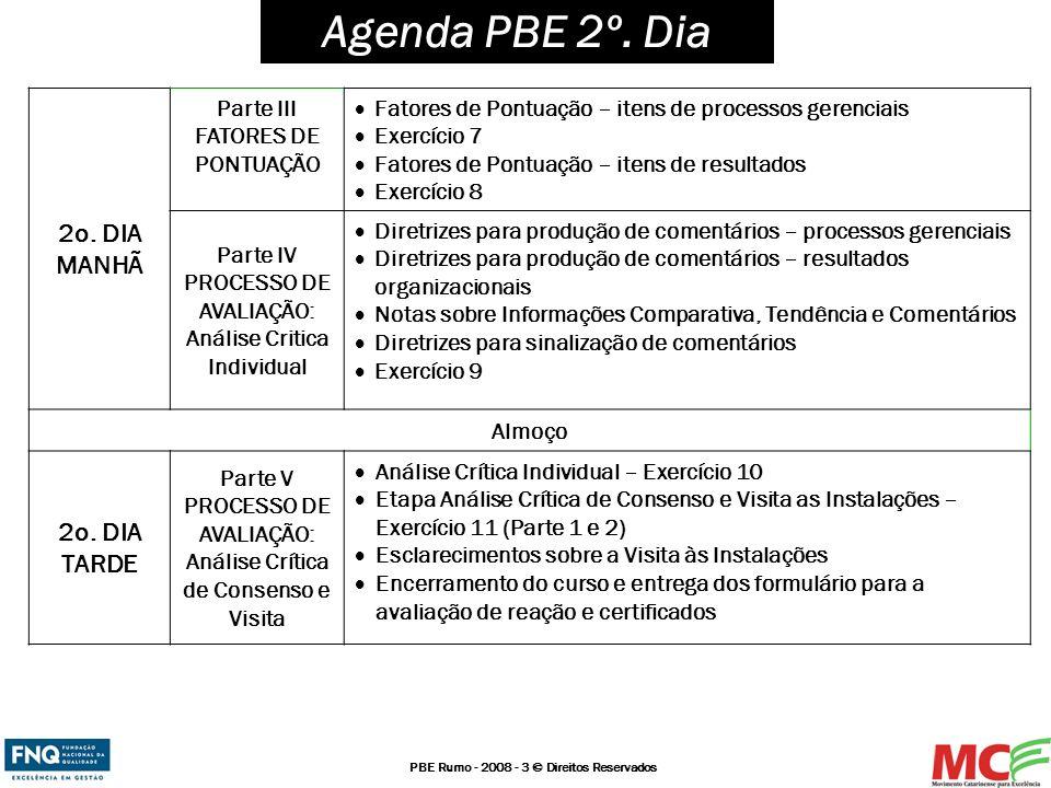 PBE Rumo - 2008 - 3 © Direitos Reservados Agenda PBE 2º. Dia 2o. DIA MANHÃ Parte III FATORES DE PONTUAÇÃO Fatores de Pontuação – itens de processos ge