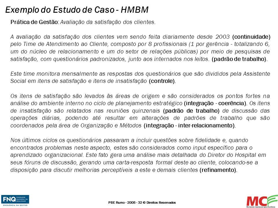 PBE Rumo - 2008 - 32 © Direitos Reservados Exemplo do Estudo de Caso - HMBM Prática de Gestão: Avaliação da satisfação dos clientes. A avaliação da sa