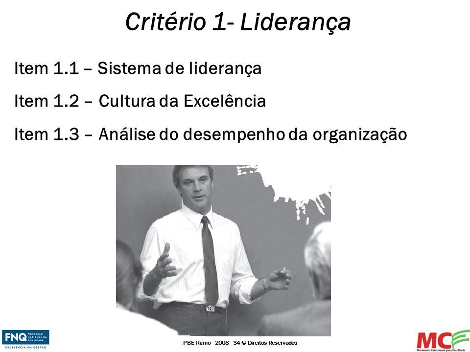 PBE Rumo - 2008 - 34 © Direitos Reservados Critério 1- Liderança Item 1.1 – Sistema de liderança Item 1.2 – Cultura da Excelência Item 1.3 – Análise d