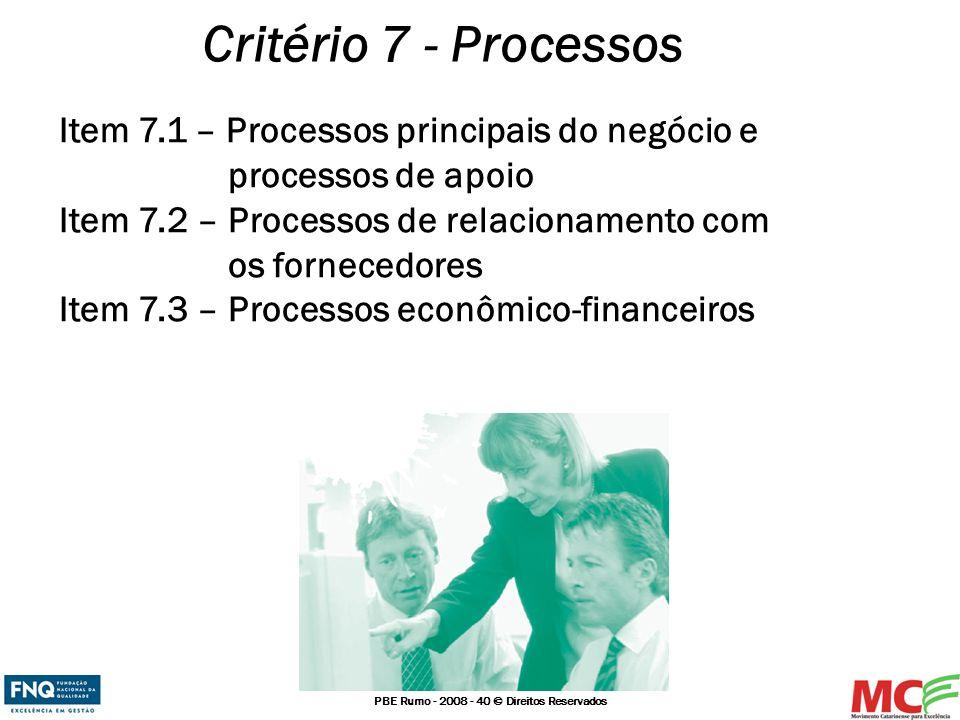 PBE Rumo - 2008 - 40 © Direitos Reservados Critério 7 - Processos Item 7.1 – Processos principais do negócio e processos de apoio Item 7.2 – Processos