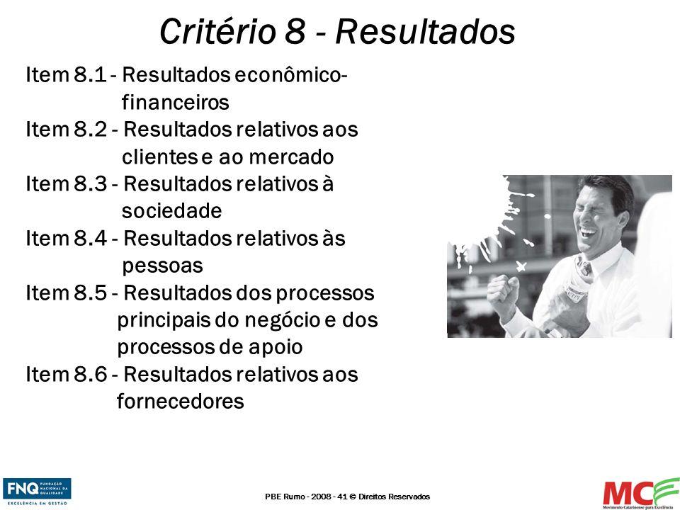 PBE Rumo - 2008 - 41 © Direitos Reservados Critério 8 - Resultados Item 8.1 - Resultados econômico- financeiros Item 8.2 - Resultados relativos aos cl