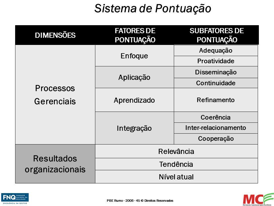 PBE Rumo - 2008 - 45 © Direitos Reservados Sistema de Pontuação Cooperação Inter-relacionamento Continuidade Proatividade Nível atual Tendência Adequa
