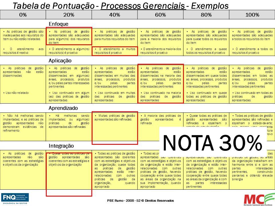 PBE Rumo - 2008 - 52 © Direitos Reservados Tabela de Pontuação - Processos Gerenciais - Exemplos 0%20%40%60%80%100% Enfoque As práticas de gestão são