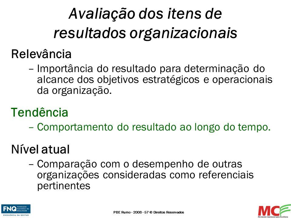 PBE Rumo - 2008 - 57 © Direitos Reservados Relevância –Importância do resultado para determinação do alcance dos objetivos estratégicos e operacionais