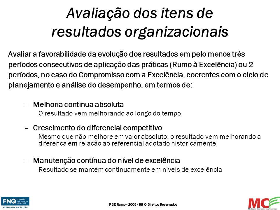 PBE Rumo - 2008 - 59 © Direitos Reservados Avaliar a favorabilidade da evolução dos resultados em pelo menos três períodos consecutivos de aplicação d
