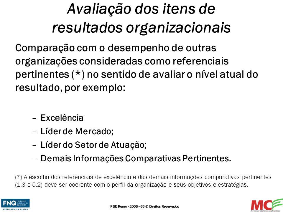 PBE Rumo - 2008 - 63 © Direitos Reservados Comparação com o desempenho de outras organizações consideradas como referenciais pertinentes (*) no sentid