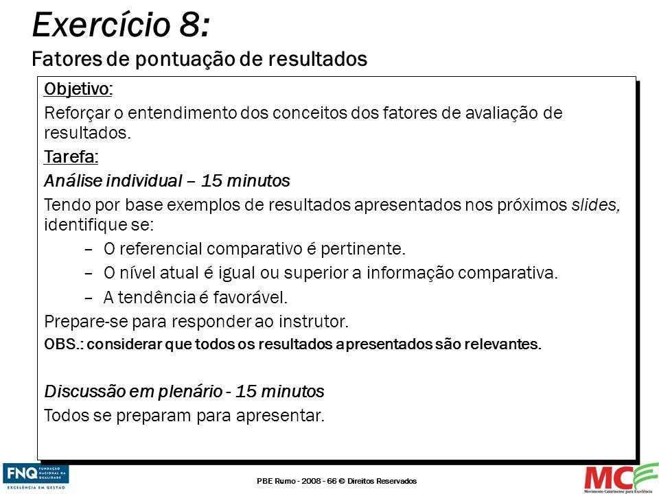 PBE Rumo - 2008 - 66 © Direitos Reservados Exercício 8: Fatores de pontuação de resultados Objetivo: Reforçar o entendimento dos conceitos dos fatores