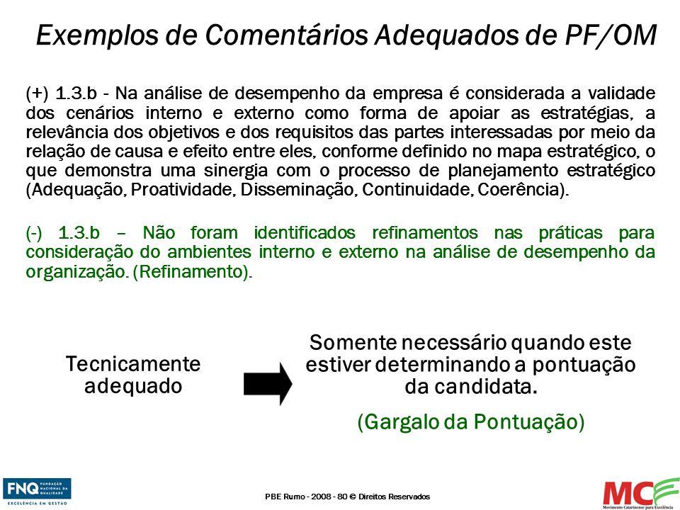 PBE Rumo - 2008 - 80 © Direitos Reservados Exemplos de Comentários Adequados de PF/OM (+) 1.3.b - Na análise de desempenho da empresa é considerada a