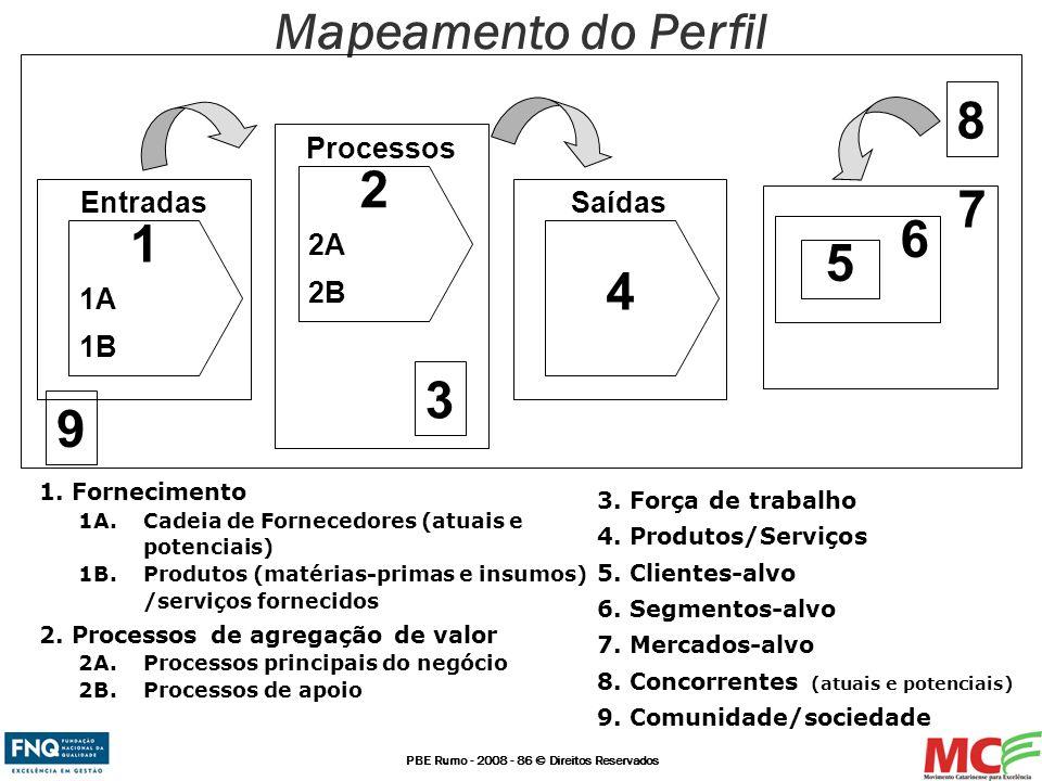 PBE Rumo - 2008 - 86 © Direitos Reservados Mapeamento do Perfil Processos 1. Fornecimento 1A. Cadeia de Fornecedores (atuais e potenciais) 1B. Produto