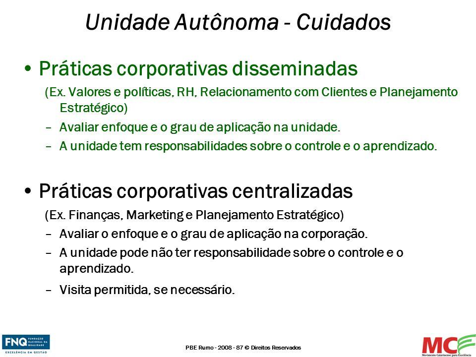 PBE Rumo - 2008 - 87 © Direitos Reservados Unidade Autônoma - Cuidados Práticas corporativas disseminadas (Ex. Valores e políticas, RH, Relacionamento