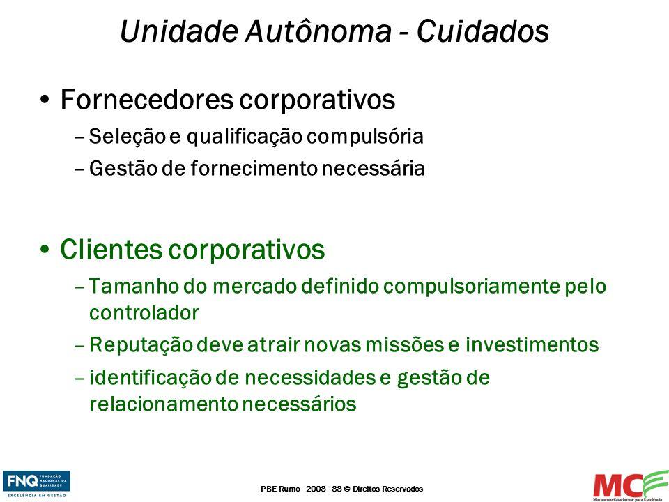 PBE Rumo - 2008 - 88 © Direitos Reservados Fornecedores corporativos –Seleção e qualificação compulsória –Gestão de fornecimento necessária Clientes c