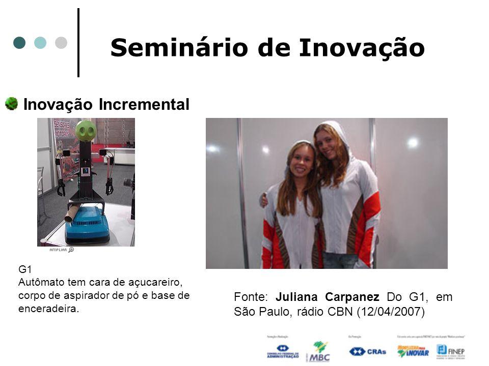 Seminário de Inovação Inovação Incremental Fonte: Juliana Carpanez Do G1, em São Paulo, rádio CBN (12/04/2007) G1 Autômato tem cara de açucareiro, cor