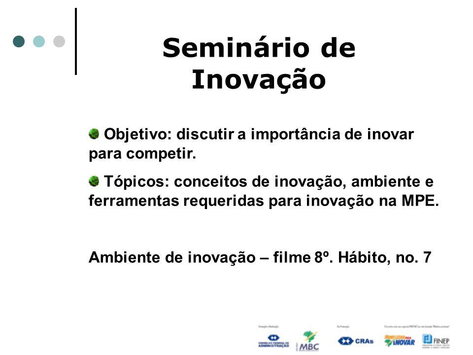 Seminário de Inovação Objetivo: discutir a importância de inovar para competir. Tópicos: conceitos de inovação, ambiente e ferramentas requeridas para