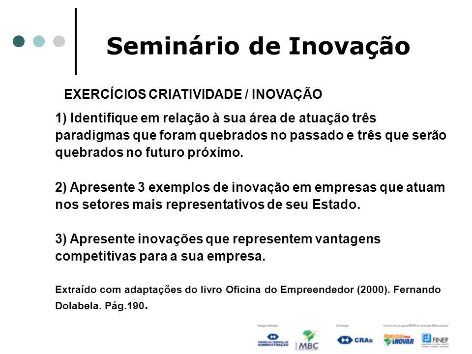 Seminário de Inovação EXERCÍCIOS CRIATIVIDADE / INOVAÇÃO 1) Identifique em relação à sua área de atuação três paradigmas que foram quebrados no passad