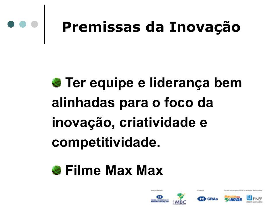Premissas da Inovação Ter equipe e liderança bem alinhadas para o foco da inovação, criatividade e competitividade. Filme Max Max