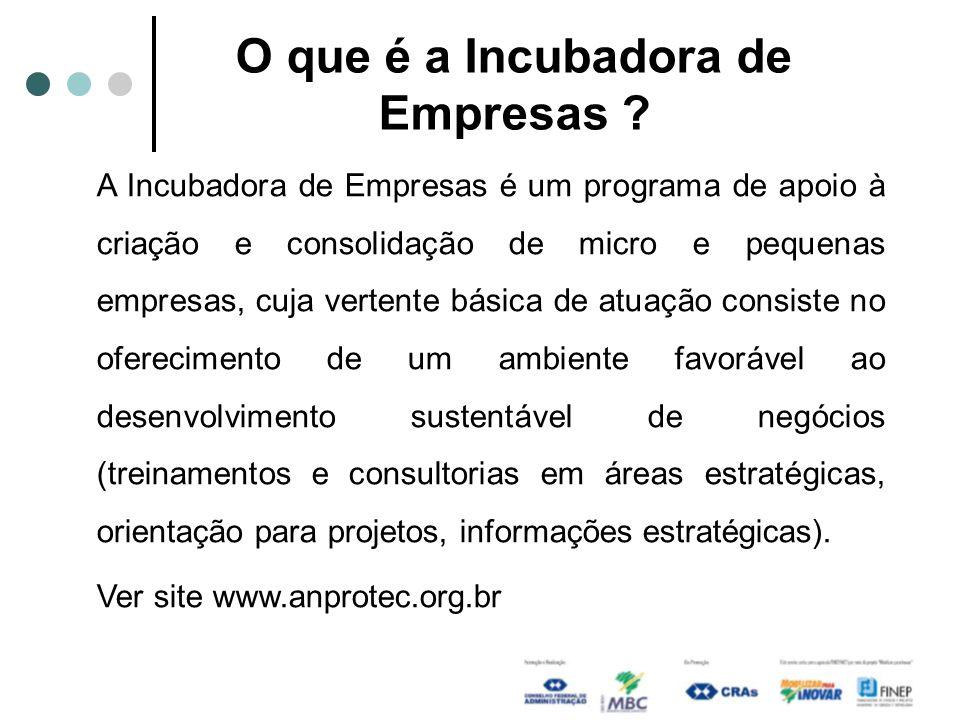 O que é a Incubadora de Empresas ? A Incubadora de Empresas é um programa de apoio à criação e consolidação de micro e pequenas empresas, cuja vertent