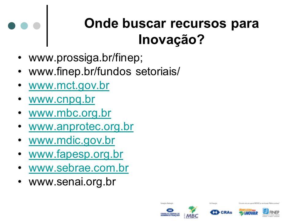Onde buscar recursos para Inovação? www.prossiga.br/finep; www.finep.br/fundos setoriais/ www.mct.gov.br www.cnpq.br www.mbc.org.br www.anprotec.org.b
