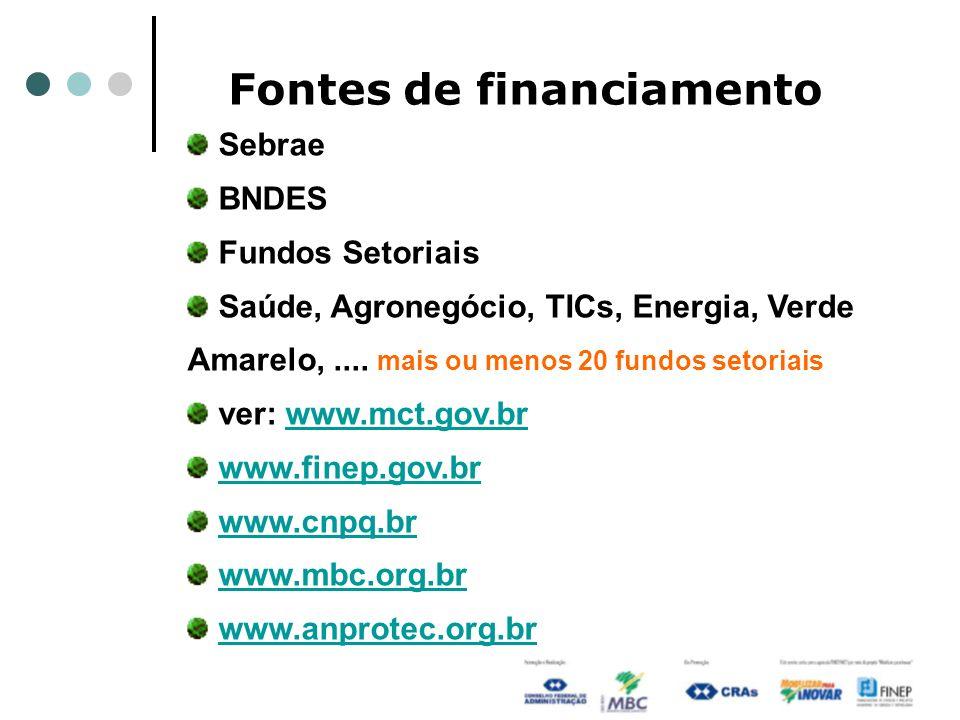 Fontes de financiamento Sebrae BNDES Fundos Setoriais Saúde, Agronegócio, TICs, Energia, Verde Amarelo,.... mais ou menos 20 fundos setoriais ver: www