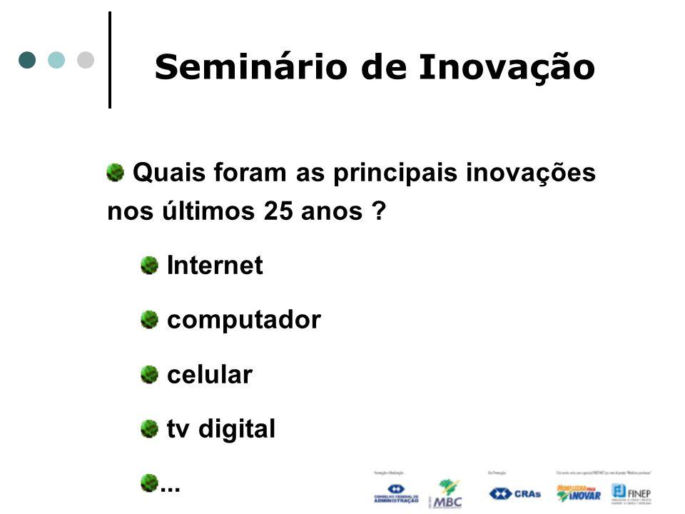 Seminário de Inovação Quais foram as principais inovações nos últimos 25 anos ? Internet computador celular tv digital...