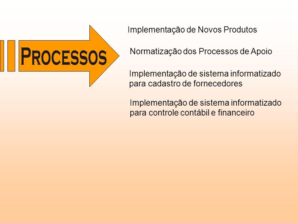 Implementação de sistema informatizado para cadastro de fornecedores Implementação de Novos Produtos Normatização dos Processos de Apoio Implementação