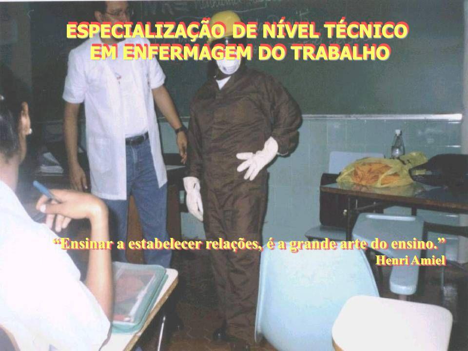 ESPECIALIZAÇÃO DE NÍVEL TÉCNICO EM ENFERMAGEM DO TRABALHO ESPECIALIZAÇÃO DE NÍVEL TÉCNICO EM ENFERMAGEM DO TRABALHO Ensinar a estabelecer relações, é