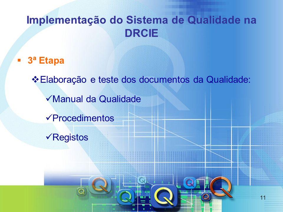11 Implementação do Sistema de Qualidade na DRCIE 3ª Etapa Elaboração e teste dos documentos da Qualidade: Manual da Qualidade Procedimentos Registos