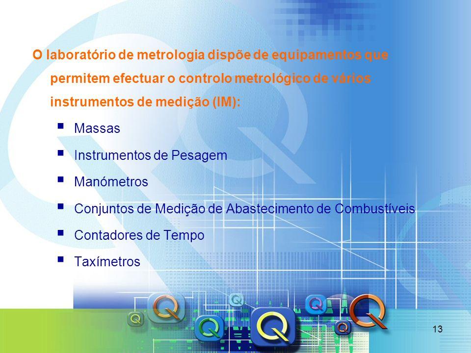 13 O laboratório de metrologia dispõe de equipamentos que permitem efectuar o controlo metrológico de vários instrumentos de medição (IM): Massas Inst