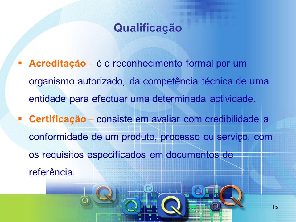 15 Qualificação Acreditação – é o reconhecimento formal por um organismo autorizado, da competência técnica de uma entidade para efectuar uma determin