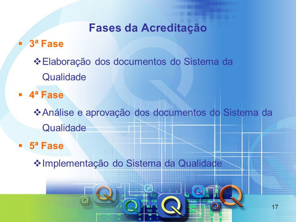17 Fases da Acreditação 3ª Fase Elaboração dos documentos do Sistema da Qualidade 4ª Fase Análise e aprovação dos documentos do Sistema da Qualidade 5
