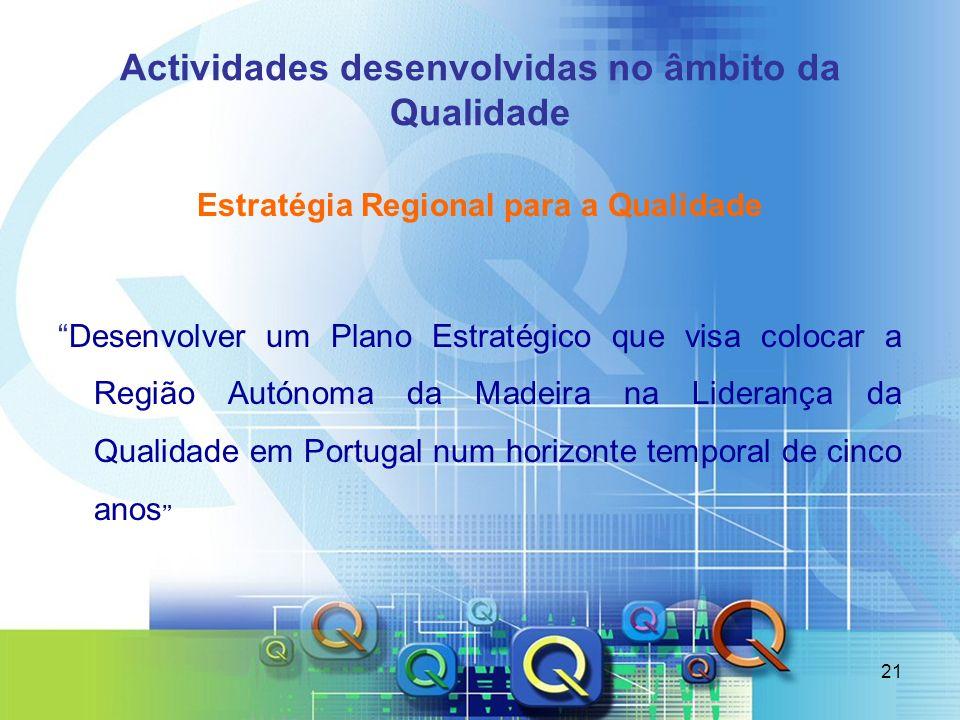 21 Actividades desenvolvidas no âmbito da Qualidade Estratégia Regional para a Qualidade Desenvolver um Plano Estratégico que visa colocar a Região Au