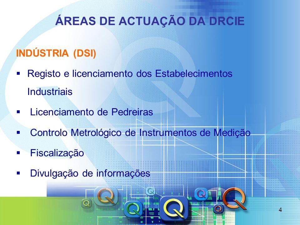 4 ÁREAS DE ACTUAÇÃO DA DRCIE INDÚSTRIA (DSI) Registo e licenciamento dos Estabelecimentos Industriais Licenciamento de Pedreiras Controlo Metrológico