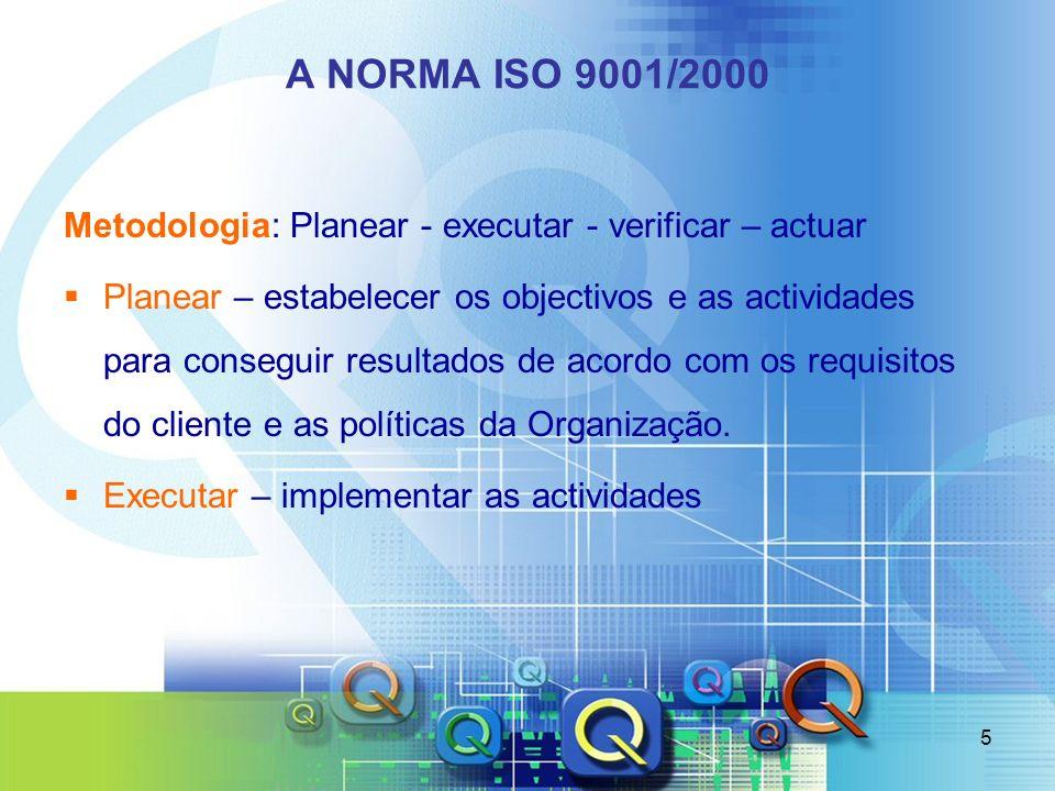 5 A NORMA ISO 9001/2000 Metodologia: Planear - executar - verificar – actuar Planear – estabelecer os objectivos e as actividades para conseguir resul