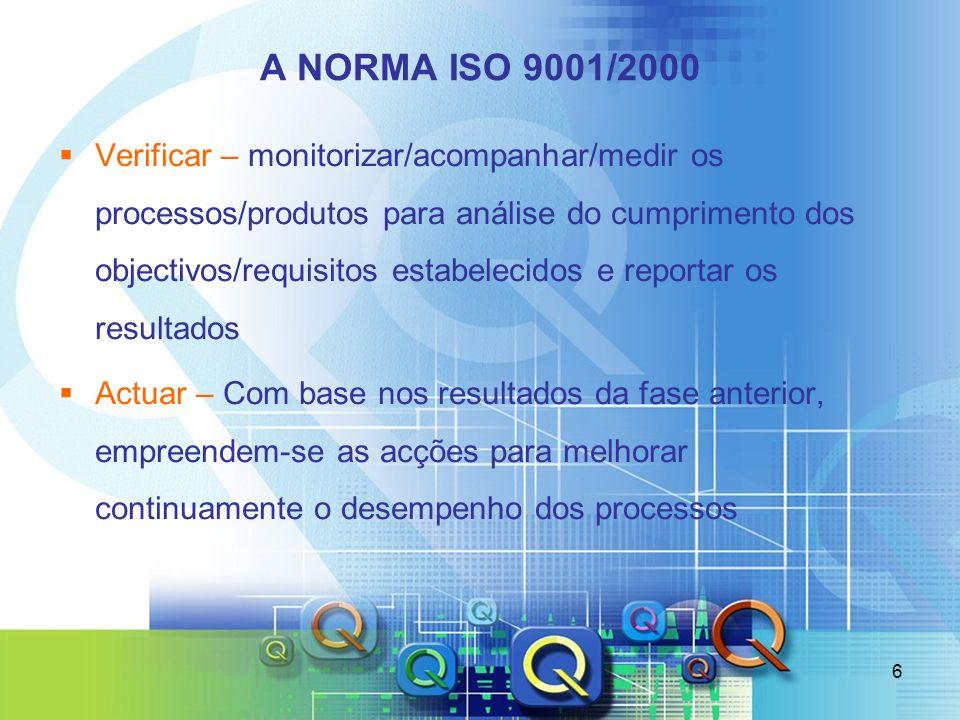 6 A NORMA ISO 9001/2000 Verificar – monitorizar/acompanhar/medir os processos/produtos para análise do cumprimento dos objectivos/requisitos estabelec