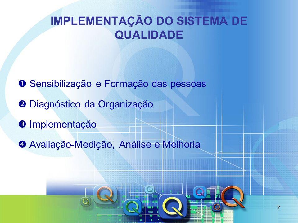 7 IMPLEMENTAÇÃO DO SISTEMA DE QUALIDADE Sensibilização e Formação das pessoas Diagnóstico da Organização Implementação Avaliação-Medição, Análise e Me