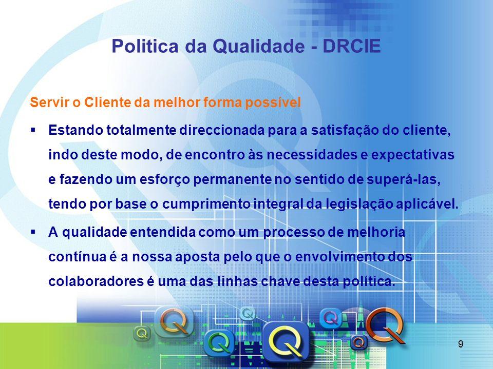 9 Politica da Qualidade - DRCIE Servir o Cliente da melhor forma possível Estando totalmente direccionada para a satisfação do cliente, indo deste mod