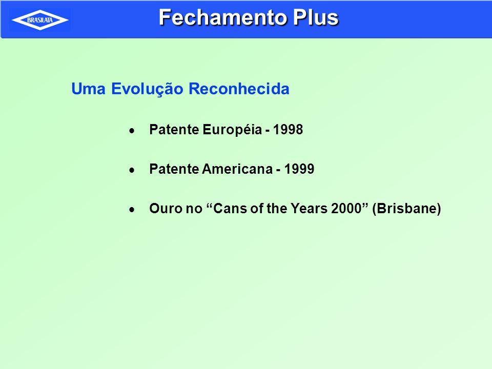 Uma Evolução Reconhecida Patente Européia - 1998 Patente Americana - 1999 Ouro no Cans of the Years 2000 (Brisbane) Fechamento Plus