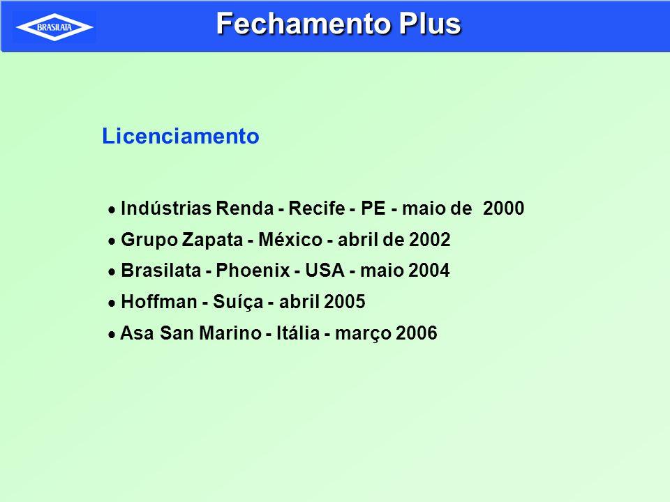 Licenciamento Indústrias Renda - Recife - PE - maio de 2000 Grupo Zapata - México - abril de 2002 Brasilata - Phoenix - USA - maio 2004 Hoffman - Suíç