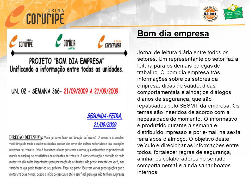 Bom dia empresa Jornal de leitura diária entre todos os setores.