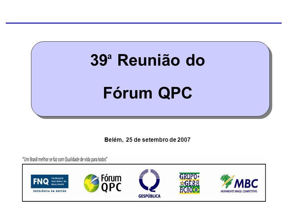 39 Reunião do Fórum QPC Belém, 25 de setembro de 2007 a