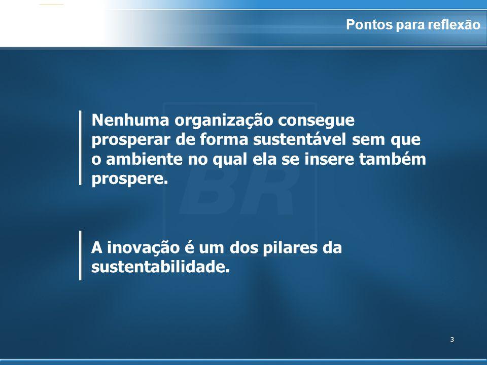 3 A inovação é um dos pilares da sustentabilidade. Nenhuma organização consegue prosperar de forma sustentável sem que o ambiente no qual ela se inser