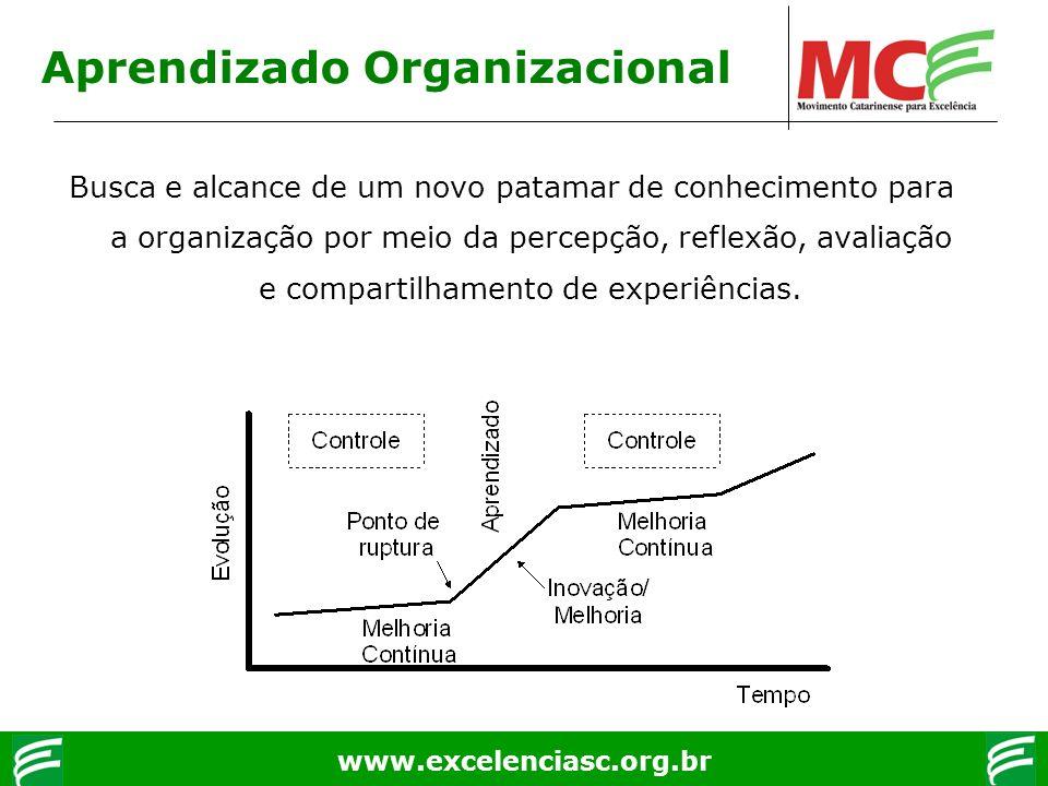 www.excelenciasc.org.br Aprendizado Organizacional Busca e alcance de um novo patamar de conhecimento para a organização por meio da percepção, reflex