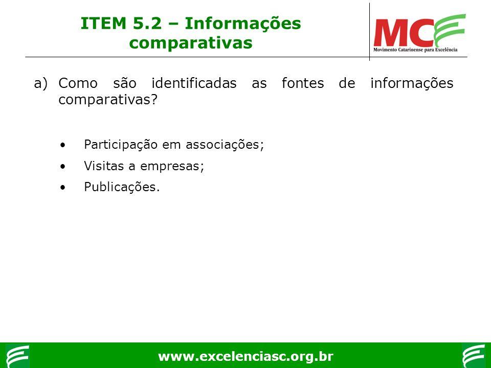 www.excelenciasc.org.br ITEM 5.2 – Informações comparativas a)Como são identificadas as fontes de informações comparativas? Participação em associaçõe