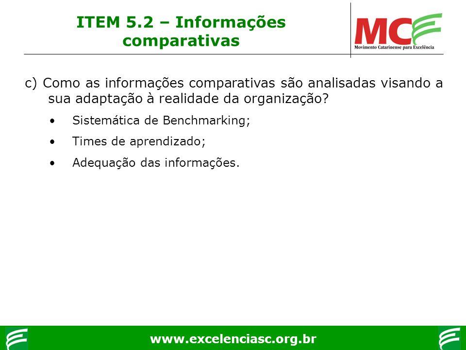 www.excelenciasc.org.br c) Como as informações comparativas são analisadas visando a sua adaptação à realidade da organização? Sistemática de Benchmar