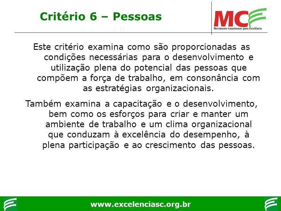 www.excelenciasc.org.br Critério 6 – Pessoas Este critério examina como são proporcionadas as condições necessárias para o desenvolvimento e utilizaçã